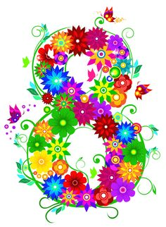 Image with transparent background, 8 Number Vector Colorful Flowers Art Graphic photo without background its from Text category, png file easily with one click Free HD PNG images, png design with high quality. Happy Woman Day, Happy Women, Baby Food Jar Crafts, 8 Mars, Share Pictures, Old Paper Background, Animated Gifs, Baby Month Stickers, Flower Silhouette