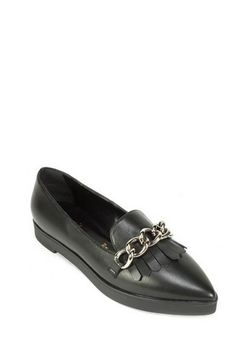 Chunky chain links and a low platform sole put a street-smart twist on a classic kiltie loafer styled with a svelte pointy toe. @Nordstrom