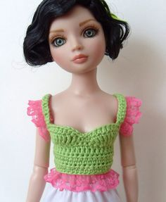 Ellowyne Wilde doll top crocheted green and by AliceandZombies