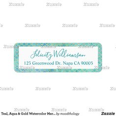 Shop Teal, Aqua & Gold Watercolor Mermaid Scale Pattern Label created by moodthology. Watercolor Mermaid, Gold Watercolor, Watercolor Pattern, Mermaid Fin, Mermaid Scales, Fun Baby, Baby Shower Fun, Return Address Labels, Teal Blue