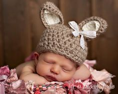 Sweet Taupe Vintage Lace Bunny Crochet Beanie