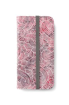 Burgundy red and white swirls doodles iPhone Wallet by @savousepate on @redbubble #iphonewallet #phonewallet #doodles #zentangle #abstract #modern #graphic #geometric #burgundy #maroon #pink