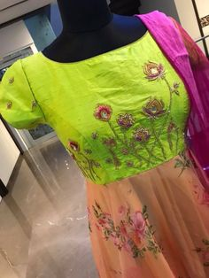 Beautiful parrot green and peach color combination floor length dress with net dupatta. Dress with lotud flower design hand embroidery work on yoke. Price : 8500 INR To order whatsapp 7013728388 Gowns For Girls, Girls Dresses, Flower Girl Dresses, Indian Designer Outfits, Designer Dresses, Indian Outfits, Kurta Designs, Blouse Designs, Peach Colour Combinations