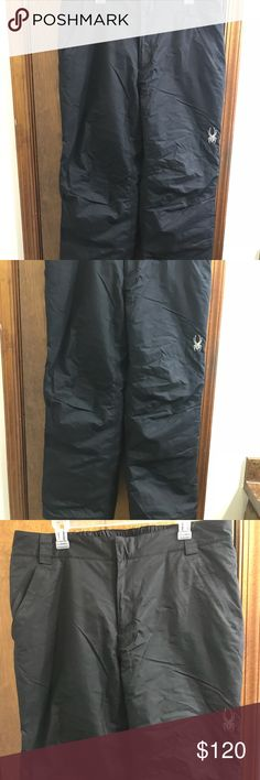 """Spyder XT 5000 Wtrprf Thinsulate Pants size large Spyder XT 5000 Wtrprf Thinsulate Ultra Insulated Ski Snowboard Pants Men size L Size large men's Zipper fly 100% nylon Lining polyester XT 5000 Waist 18"""" across Rise 11"""" Inseam 31"""" Bottom leg opening 10"""" Excellent Condition Spyder Pants"""