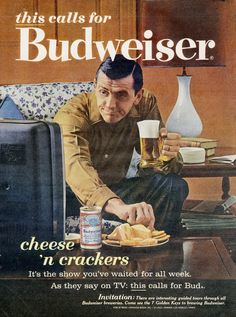 1963 Budweiser Beer Ad Cheese n Crackers Mad Men by AdVintageCom