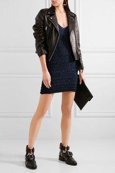 KENZO - Cutout Metallic Knitted Mini Dress - Midnight blue - medium