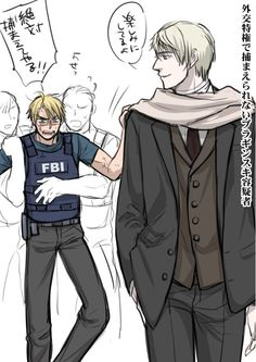 Hetalia - RusAme xD. I feel as Russia pissed off America and the other FBI people hade to hold him back