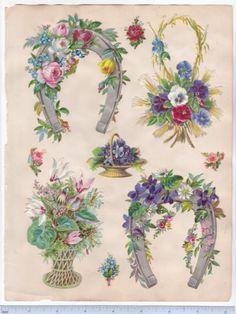 1890s-Victorian-Scrapbook-Page-Pansies-Cyclamen-Horseshoe-Die-Cuts-Scrap