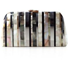 Serpui Mother Of Pearl Stripe Clutch ($656) ❤ liked on Polyvore featuring bags, handbags, clutches, natural, stripe purse, party handbags, white clutches, striped purse and striped handbag
