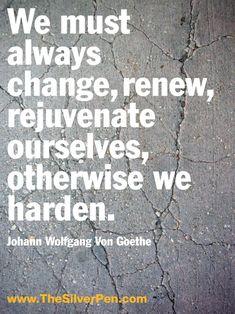 """We must always change, renew, rejuvenate ourselves, otherwise we harden.""  --Johann Wolfgang Von Goethe"