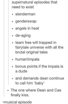 I would watch these so hard.... though the whole kiss one not so much. I don't ship destiel!