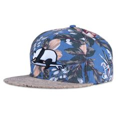 Floral hat with surfing panda design on the front. The brim is made out of cork. Get your panda steez on just in time for the summer. S/M best for sizes 7 3/8 and under. L/XL best for sizes 7 1/2 and