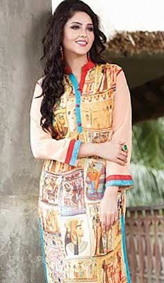 Festival Latest Cream Georgette Kurti Best For Online Shopping