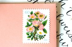 10 UNused Vintage Stamps Vintage Coral Flower by EdelweissPost