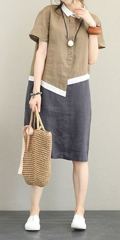 Vintage Loose Quilted Linen Dresses Women Casual Clothes The most beautiful and newest outfit Casual Dress Outfits, Trendy Dresses, Simple Dresses, Casual Dresses For Women, Fashion Dresses, Clothes For Women, Casual Clothes, Fashion Clothes, Womens Linen Dresses