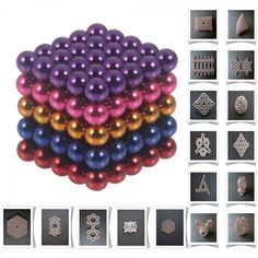125pcs 5mm DIY Buckyballs Neocube Magic Beads Magnetic Toy Purple & Dark Blue & Red & Rose Red & Orange.  Check this out at the Tmart link on MomTheShopper.