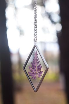 Pressed flowers jewelry LARGE PIKE ARMOR pendant stained glass necklace…