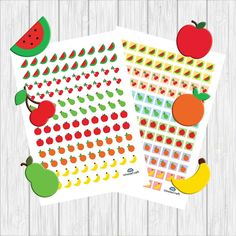 Fruit stickers, cute diary stickers, mixed fruit stickers, healthy stickers, health food sticker, pdf planner stickers, food planner sticker by UnoiaCraft on Etsy