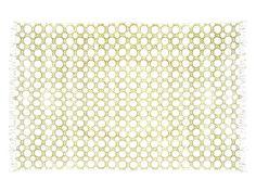 Origineel handgeweven klassiek 'dhurrie' vloerkleed van katoen met franje. Op traditionele wijze ge'blockprint' in een vrolijk grafisch tandwielpatroon van zonnetjes.  1.20 x 1.80 m.