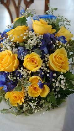 Blue and yellow wedding bouquet