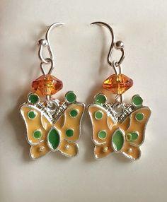 Silver Butterfly Earrings Spring Colors Pastel Orange Green Yellow Enamel Plated #Unbranded #DropDangle