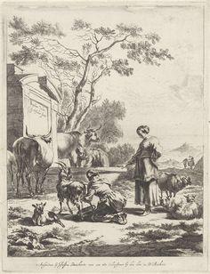 Jan de Visscher | Titelprent voor een reeks pastorale landschappen, Jan de Visscher, Justus Danckerts, 1650 - 1701 | Titelprent voor een reeks pastorale landschappen, met drie herderinnen bij een bron. De voorste melkt een geit, een ander staat toe te kijken en de derde haalt water uit de put. Bij de bron staan koeien en geiten.