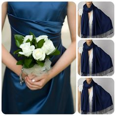 Set of Three Midnight Blue Shawls Wedding Shawl Navy by LunaShawls, $69.00