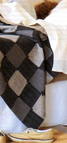 wool suit quilt - dark thread makes a big difference in the look.