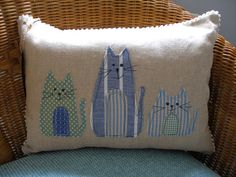 Linen cat cushion linen cat pillow decorative by AlisonWhateley