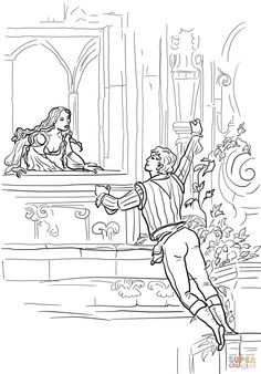 Romeo and Juliet Balcony Scene Coloring page | SuperColoring.com