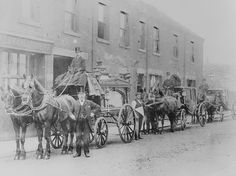 photograph was taken outside the Liberal Club in Burslem, and shows a horse drawn drag with passengers, and four horses.