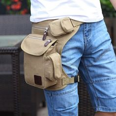 Buy Fashion Multifunction Outdoor Cotton Sport Leg Bag Canvas Waist Bag Money Belt Fanny Pack at Wish - Shopping Made Fun Womens Fashion Online, Latest Fashion For Women, Leather Craft, Leather Bag, Waist Purse, Bum Bag, Leather Projects, Medium Bags, Mini Bag