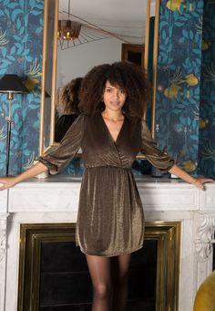 Robe lurex doré Nylons, Wrap Dress, Shirt Dress, Shirts, Dresses, Fashion, Dress, Fashion Now, Winter Collection