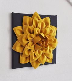Flower Wall Hanging -Mustard Dahlia on Charcoal 12 x12 Canvas Wall Art- 3D Felt Flower via Etsy