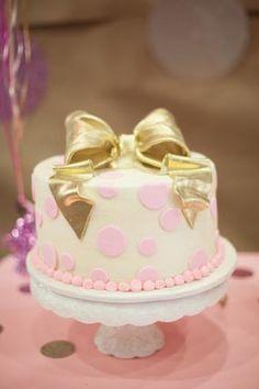 Blair's pink gold polka dot princess first birthday party polka dot cake with gold bow