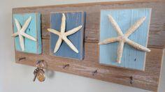 Nautical Decor Key Holder Jewelry Organizer Turquoise Reclaimed Wood Shabby Chic Cottage Style Beach Decor Starfish Coastal Decor