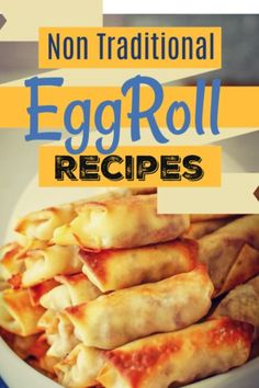 """10 Homemade Eggroll Recipes to Try out! non-traditional recipes to try out for your next """"game"""" night as an appetizer! Very unique and something you can try for your next get together or simply a treat for your family! Make Ahead Appetizers, Appetizers For Party, Appetizer Recipes, Egg Roll Recipes, Great Recipes, Amazing Recipes, Delicious Recipes, Holiday Recipes, Easy Recipes"""