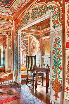 This interior from Jaisalmer Fort in Rajastan wonderfully demonstrates the opulence of Indian design; the plethora of pattern and colour creates a totally unique and exciting space.