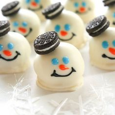 These Melted Snowman Oreo Balls are festive and a great addition to any holiday party.