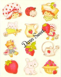 Vintage Strawberry Shortcake stickers. Mint. by DarnSweet on Etsy, £6.00