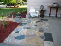 Granite Scrap Patio and Path made from dumpster dived countertop scraps.