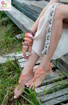 Peach Crochet Barefoot Sandals, Nude shoes, Foot jewelry, Victorian Lace, Yoga, Anklet , Bellydance, Steampunk, Beach Pool, Boho accessory