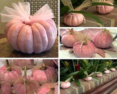 Pink Tulle Pumpkin with Pearls
