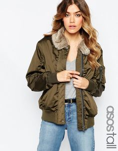 ASOS TALL Bomber Jacket with Faux Fur Collar