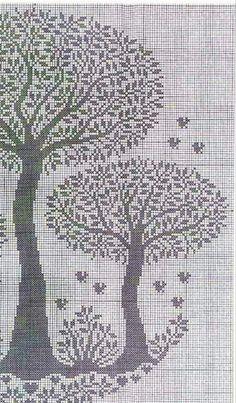 Cross Stitch Tree, Cross Stitch Books, Cross Stitch Heart, Cross Stitch Borders, Cross Stitch Designs, Cross Stitching, Filet Crochet, Crochet Diagram, Crochet Motif