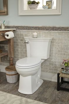 Dazzling rachel ray cookware in Bathroom EANF with Driftwood Vanity next to Floor Tile Border alongside Half Wall Tile and Tile Behind Toilet