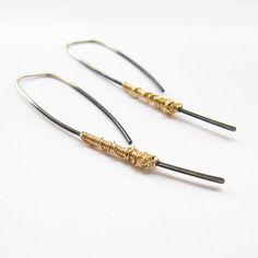 Simple Dangle Earrings- Modern Silver Hoop- Open Hoop Earrings- Oxidized- Minimalist Earrings-black and gold