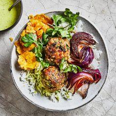 Mojo Meatballs Recipe | Bon Appétit Cuban Recipes, Dinner Recipes, Dinner Ideas, Pork Recipes, Yummy Recipes, Lunch Recipes, Gourmet Recipes, Cookie Recipes, Healthy Recipes