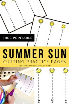 Strengthen Scissor Skills with Fun Summer Cutting Cards (Printable) Cutting Activities For Kids, Summer Preschool Activities, 4 Year Old Activities, Moon Activities, Fine Motor Activities For Kids, Calming Activities, Motor Skills Activities, Dementia Activities, Preschool Art