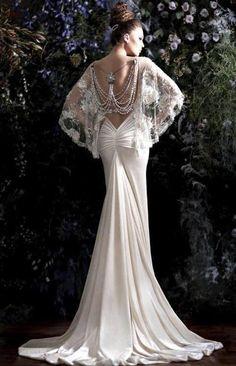 Nat Shermans and Guerlain. Old hollywood Great Gatsby wedding dress.